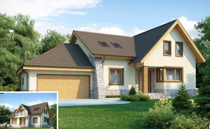 Proiect superb de casa cu mansarda si for Proiecte case cu garaj